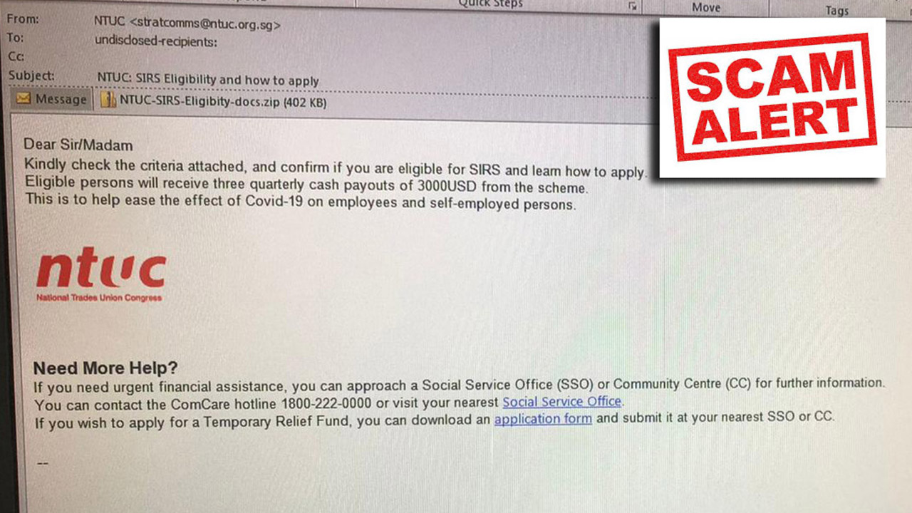 Scam Alert: Advisory On A Phishing Email Requesting For Information For Self-Employed Person Income Relief Scheme